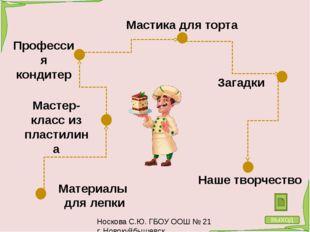 Мастика для торта Носкова С.Ю. ГБОУ ООШ № 21 г. Новокуйбышевск Украшение торт