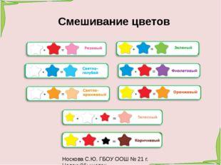 Носкова С.Ю. ГБОУ ООШ № 21 г. Новокуйбышевск Смешивание цветов