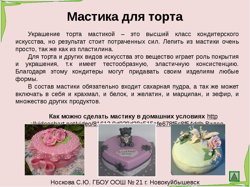 Носкова С.Ю. ГБОУ ООШ № 21 г. Новокуйбышевск Кондитер должен знать ассортимен...