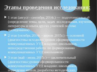 Этапы проведения исследования: 1 этап (август - сентябрь 2014г.) — подготовит
