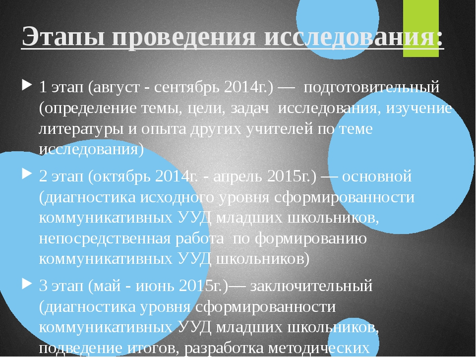 Этапы проведения исследования: 1 этап (август - сентябрь 2014г.) — подготовит...