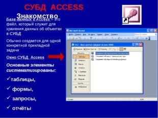 СУБД ACCESS Знакомство База данных в Access – это файл, который служит для хр