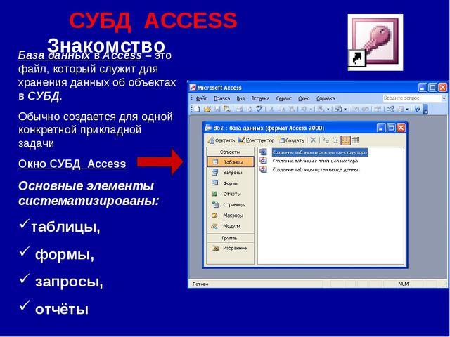 СУБД ACCESS Знакомство База данных в Access – это файл, который служит для хр...