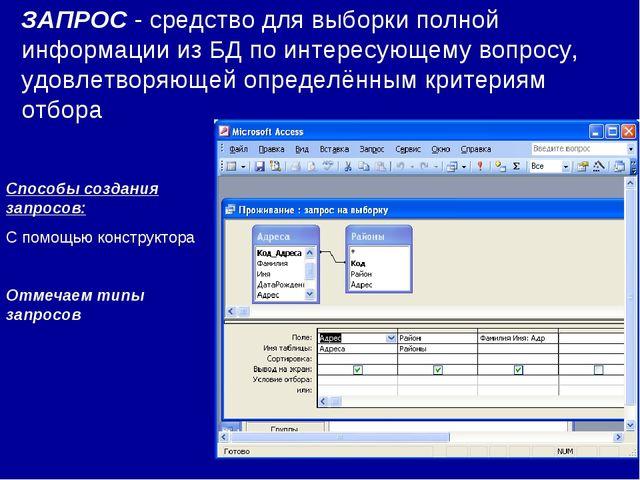 ЗАПРОС - средство для выборки полной информации из БД по интересующему вопрос...