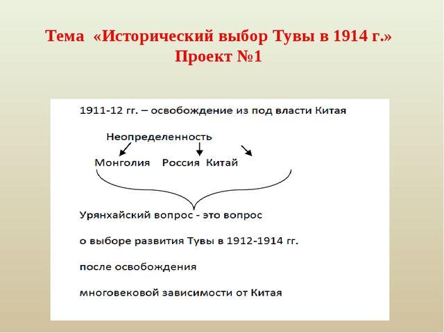 Тема «Исторический выбор Тувы в 1914 г.» Проект №1