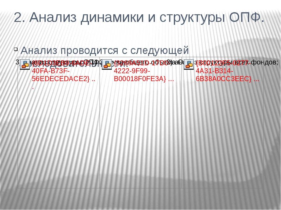 2. Анализ динамики и структуры ОПФ. Анализ проводится с следующей последовате...
