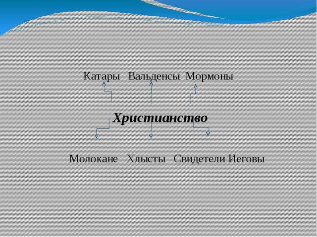 Катары Вальденсы Мормоны Христианство Молокане Хлысты Свидетели Иеговы