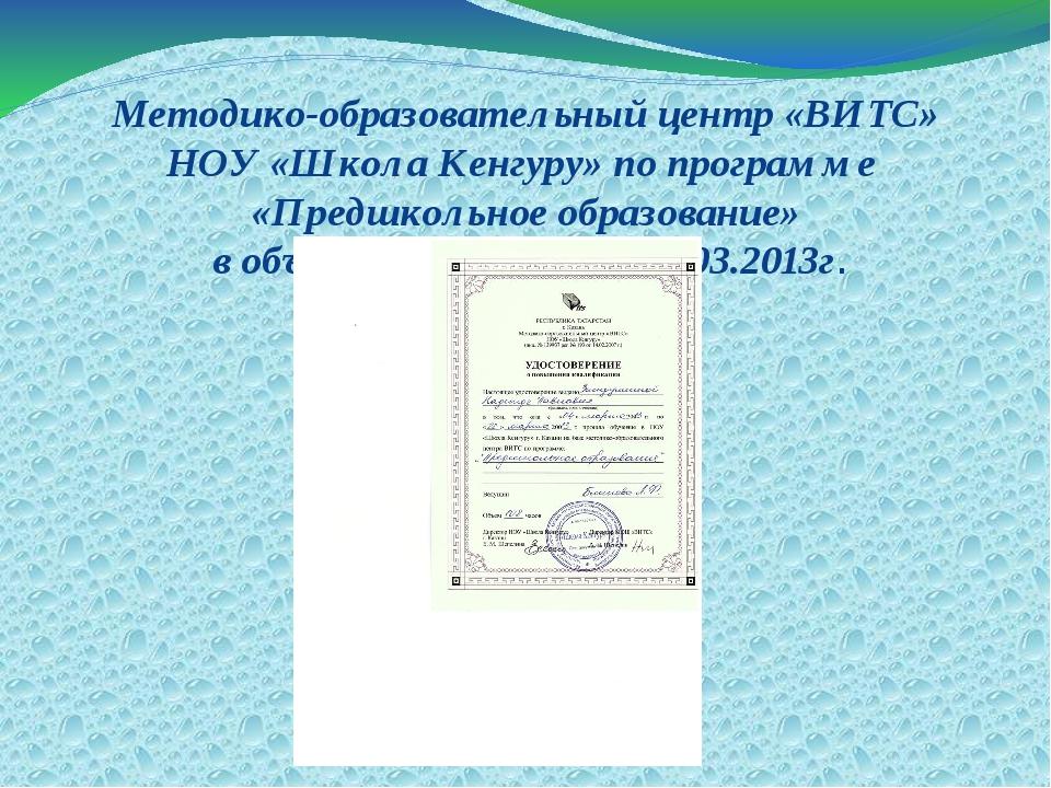 Методико-образовательный центр «ВИТС» НОУ «Школа Кенгуру» по программе «Предш...