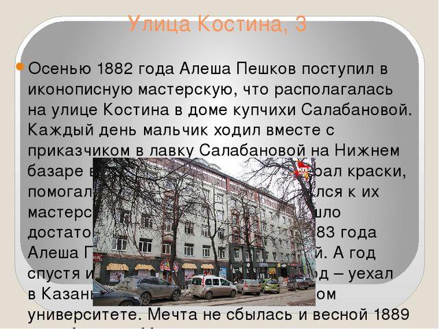 Улица Костина, 3 Осенью 1882 года АлешаПешков поступил в иконописную мастерс...