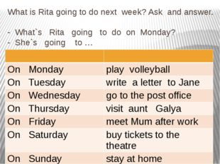 What is Rita going to do next week? Ask and answer. - What`s Rita going to do