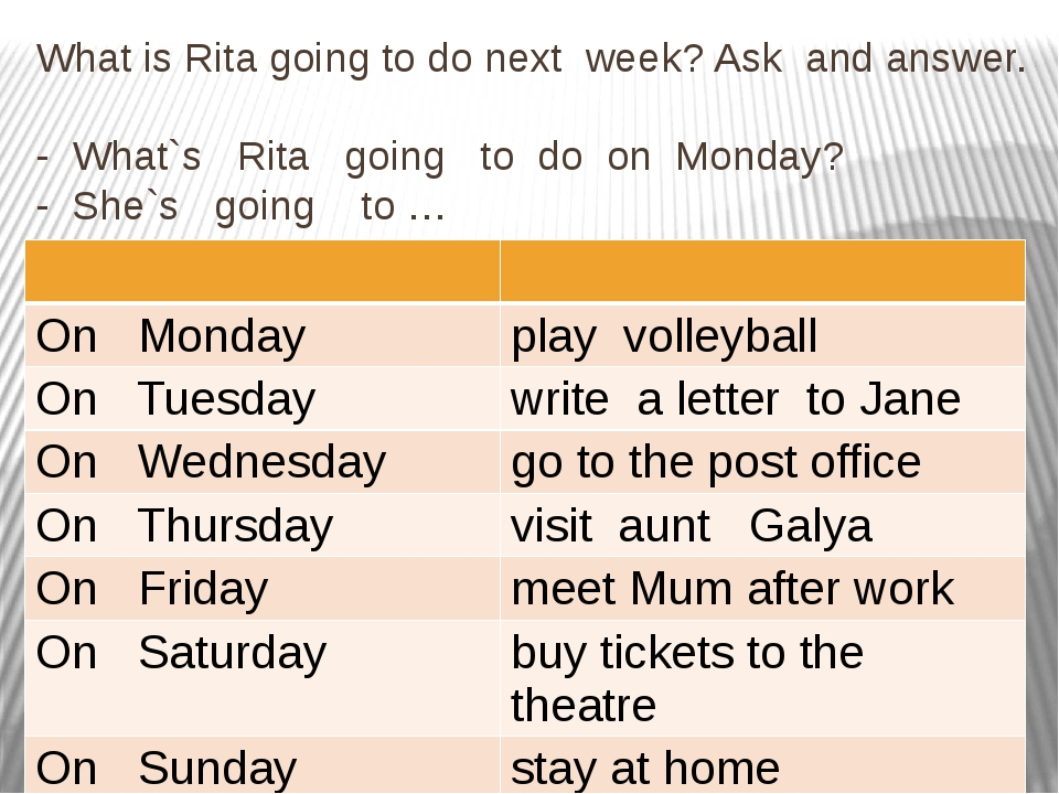 What is Rita going to do next week? Ask and answer. - What`s Rita going to do...