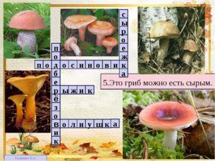 1 4 2 3 3 5 5.Это гриб можно есть сырым. п в о н и с о о д и к о з ё е б р о