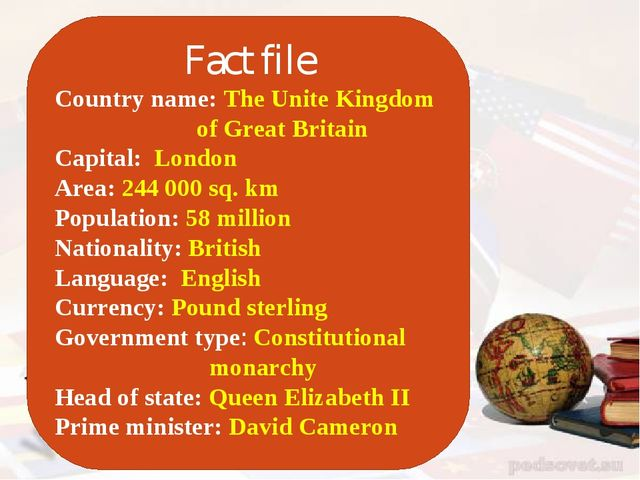 Fact file Country name: The Unite Kingdom of Great Britain Capital: London A...