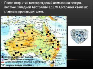 После открытия месторождений алмазов на северо-востоке Западной Австралии в 1