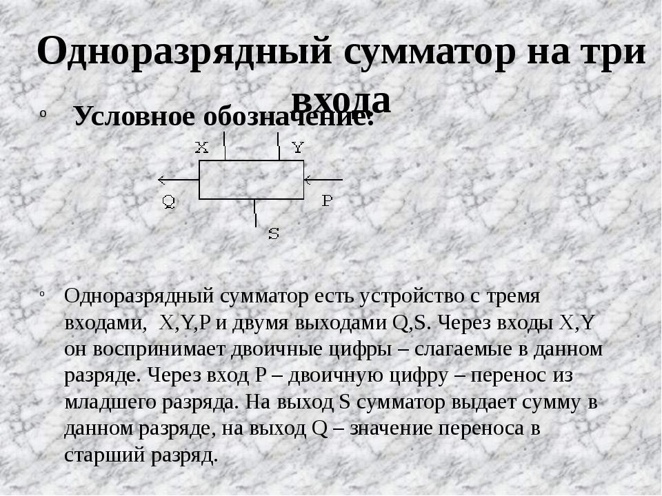 Одноразрядный сумматор на три входа Условное обозначение: Одноразрядный сумма...