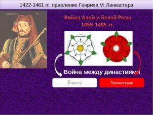 1422-1461 гг. правление Генриха VI Ланкастера Война между династиями Ланкасте