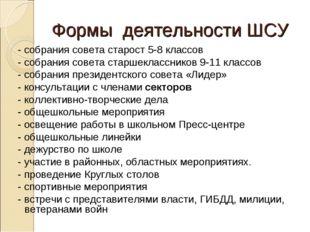 Формы деятельности ШСУ - собрания совета старост 5-8 классов - собрания совет