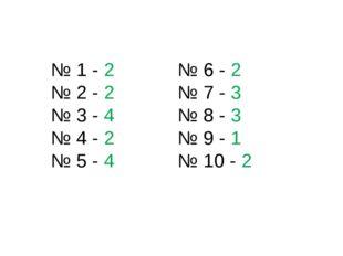 № 1 - 2 № 2 - 2 № 3 - 4 № 4 - 2 № 5 - 4 № 6 - 2 № 7 - 3 № 8 - 3 № 9 - 1 № 10