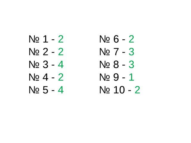 № 1 - 2 № 2 - 2 № 3 - 4 № 4 - 2 № 5 - 4 № 6 - 2 № 7 - 3 № 8 - 3 № 9 - 1 № 10...