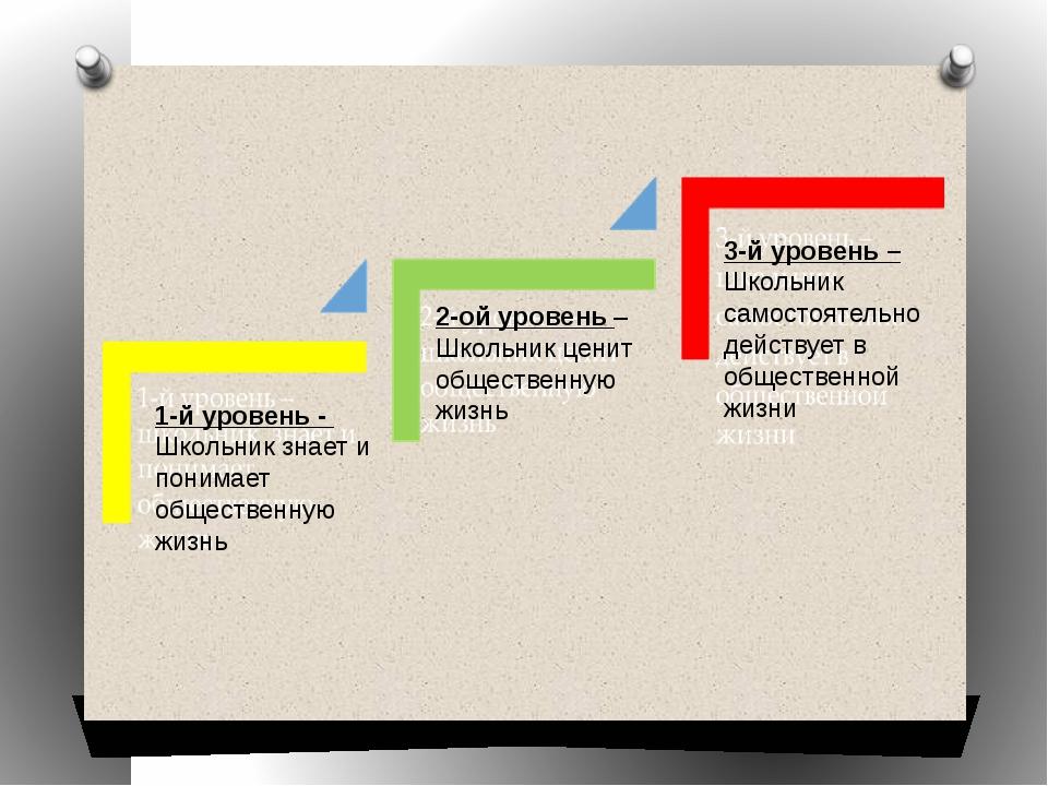 1-й уровень - Школьник знает и понимает общественную жизнь 2-ой уровень – Шко...