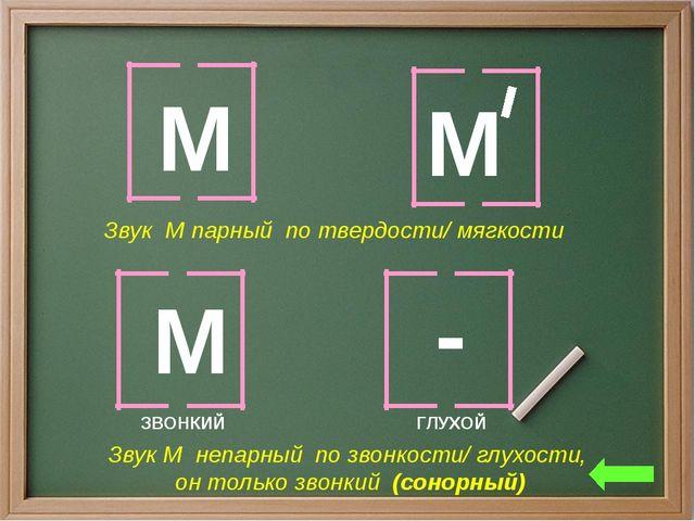 М М Звук М парный по твердости/ мягкости М - Звук М непарный по звонкости/ гл...