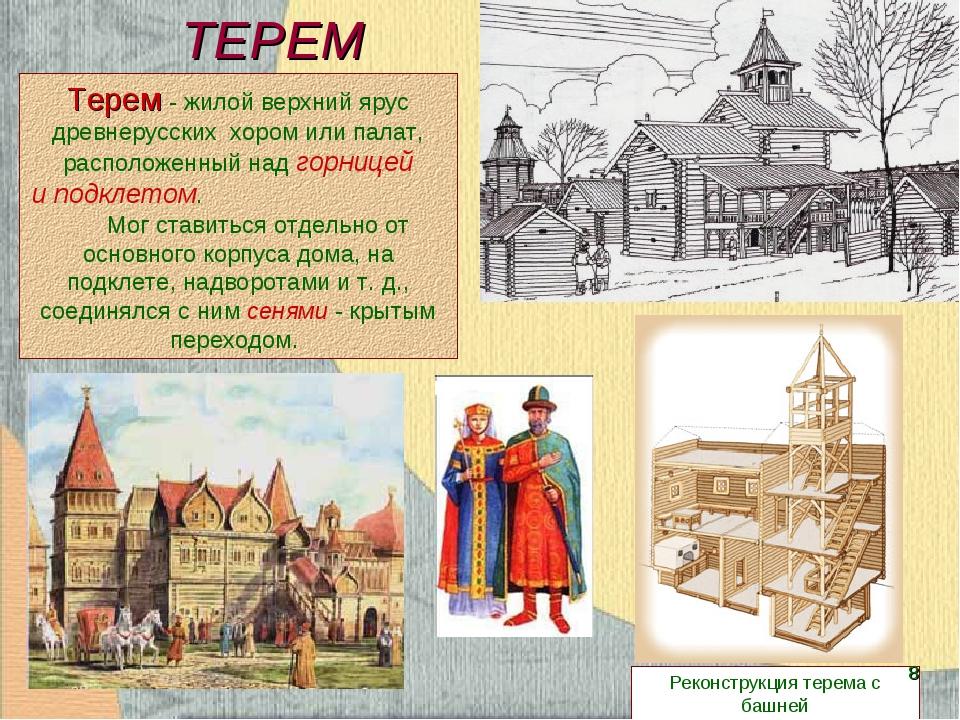 ТЕРЕМ Терем- жилой верхнийярус древнерусских хором илипалат, расположенны...