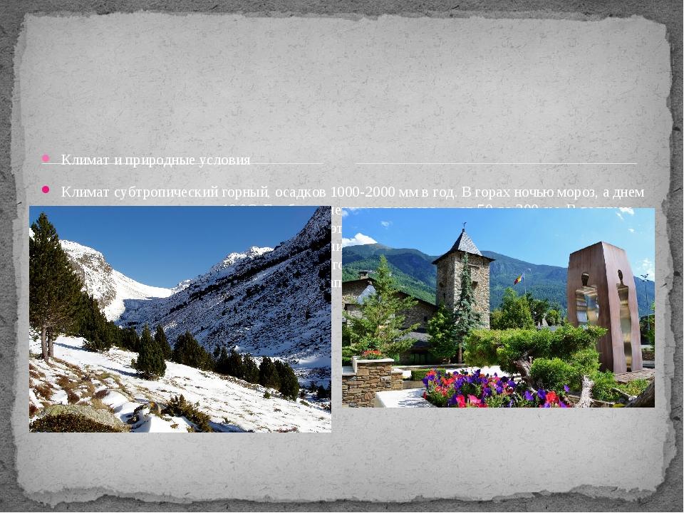 Климат и природные условия Климат субтропический горный, осадков 1000-2000 м...