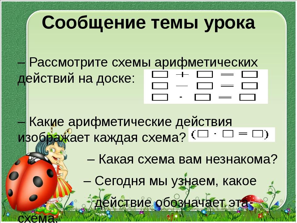Сообщение темы урока – Рассмотрите схемы арифметических действий на доске: –...