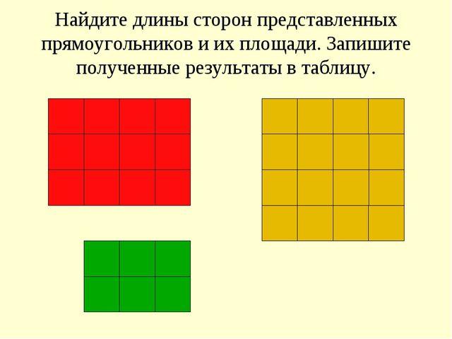 Найдите длины сторон представленных прямоугольников и их площади. Запишите по...
