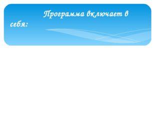 Программа включает в себя: 1) пояснительную записку; 2) содержание программы
