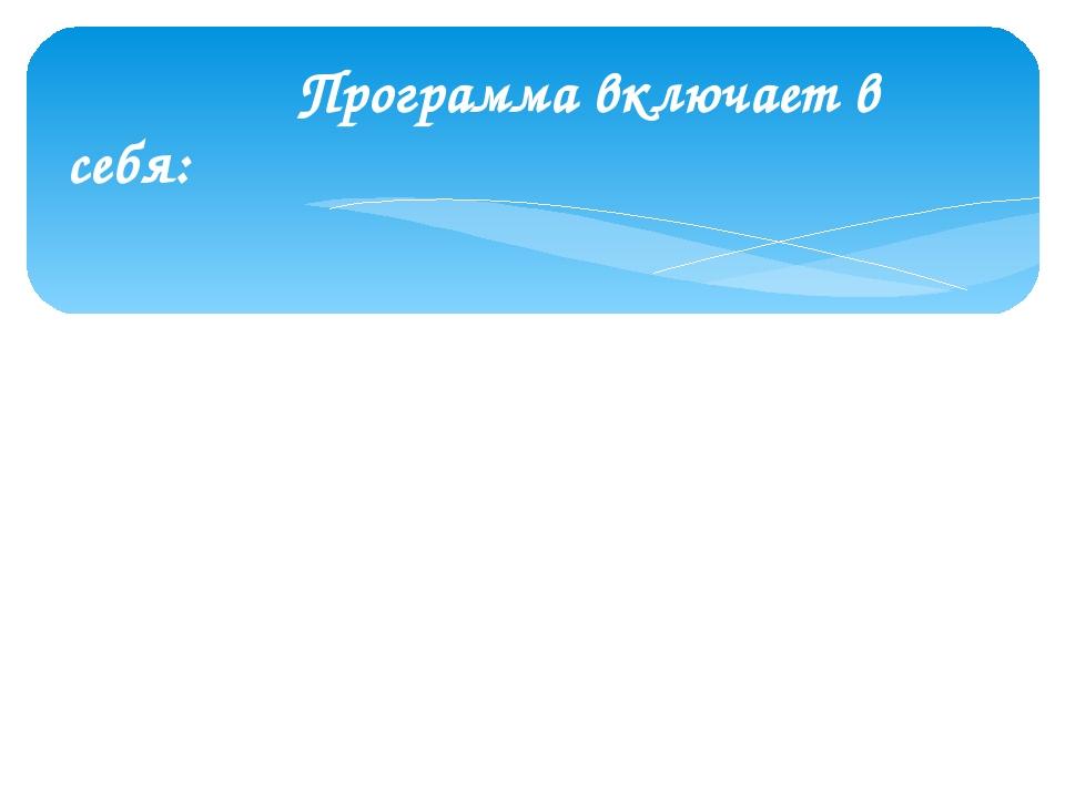 Программа включает в себя: 1) пояснительную записку; 2) содержание программы...