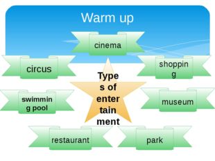 Warm up Types of entertainment cinema park swimming pool circus shopping muse