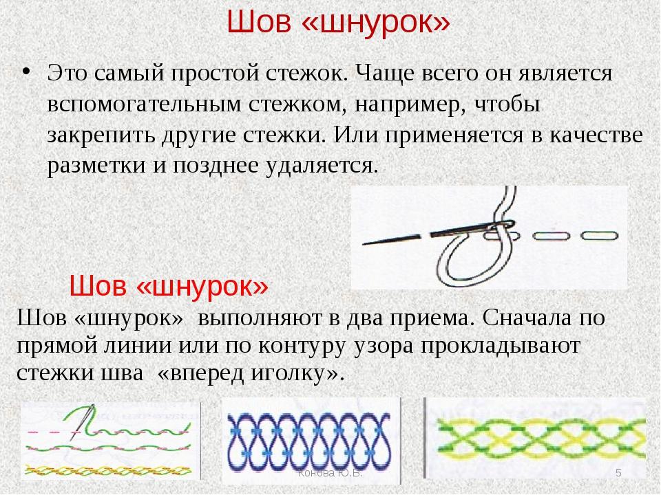 Шов «шнурок» Это самый простой стежок. Чаще всего он является вспомогательным...