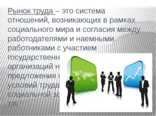 Рынок труда – это система отношений, возникающих в рамках социального мира и