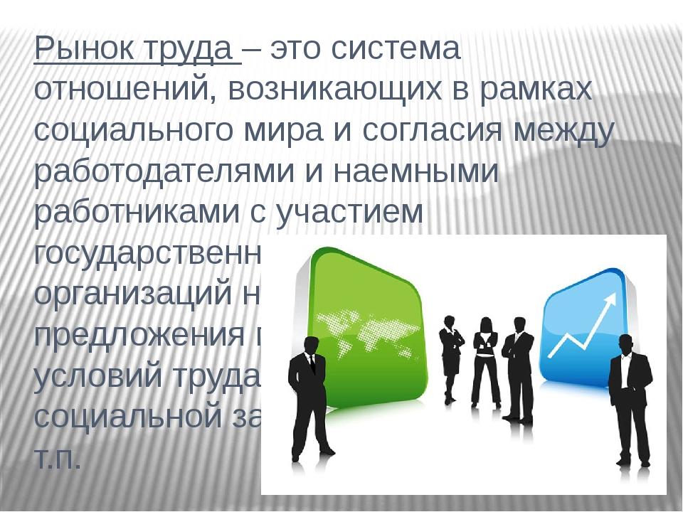 Рынок труда – это система отношений, возникающих в рамках социального мира и...