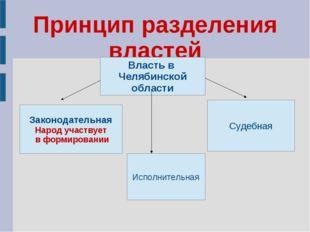 Принцип разделения властей Власть в Челябинской области Законодательная Народ