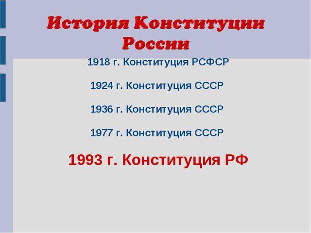 1918 г. Конституция РСФСР 1924 г. Конституция СССР 1936 г. Конституция СССР 1...