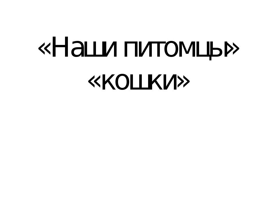 «Наши питомцы» «кошки»