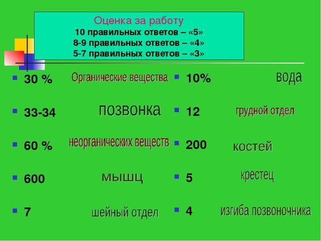 Цифровое лото 30 % 33-34 60 % 600 7 10% 12 200 5 4 Оценка за работу 10 правил...