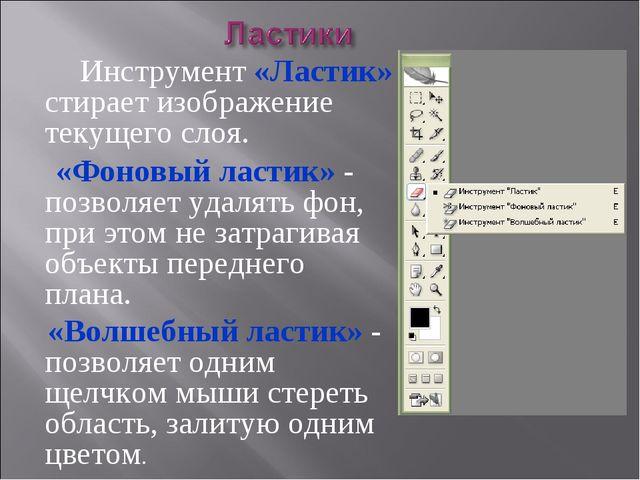 Инструмент «Ластик» стирает изображение текущего слоя. «Фоновый ластик» - по...