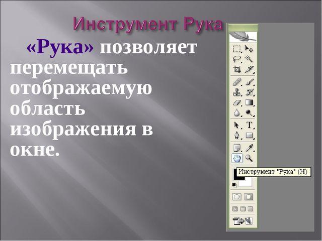 «Рука» позволяет перемещать отображаемую область изображения в окне.