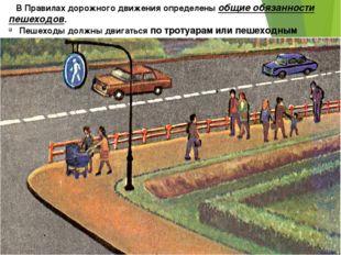 В Правилах дорожного движения определены общие обязанности пешеходов. Пешехо