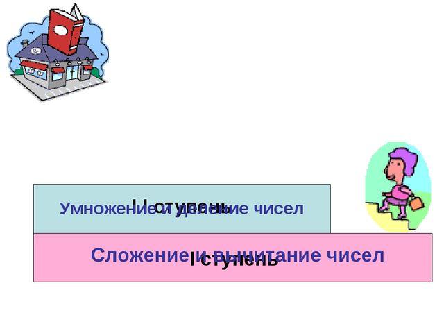 I ступень I I ступень Сложение и вычитание чисел Умножение и деление чисел