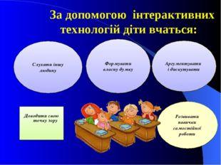 За допомогою інтерактивних технологій діти вчаться: Доводити свою точку зору