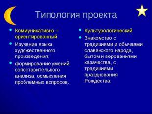 Типология проекта Коммуникативно – ориентированный Изучение языка художествен