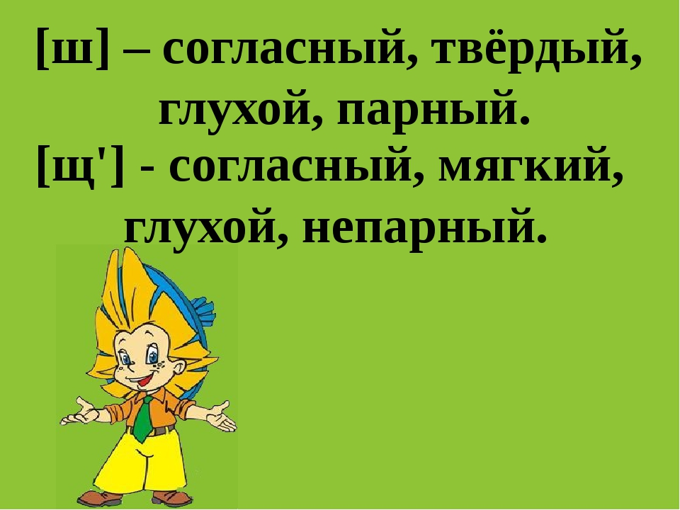 [ш] – согласный, твёрдый, глухой, парный. [щ'] - согласный, мягкий, глухой, н...