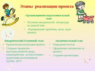Этапы реализации проекта Организационно-подготовительный этап: Изучение метод
