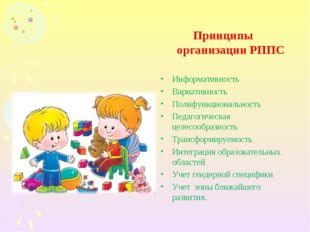 Принципы организации РППС Информативность Вариативность Полифункциональность