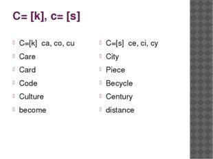 C= [k], c= [s] C=[k] ca, co, cu Care Card Code Culture become C=[s] ce, ci, c