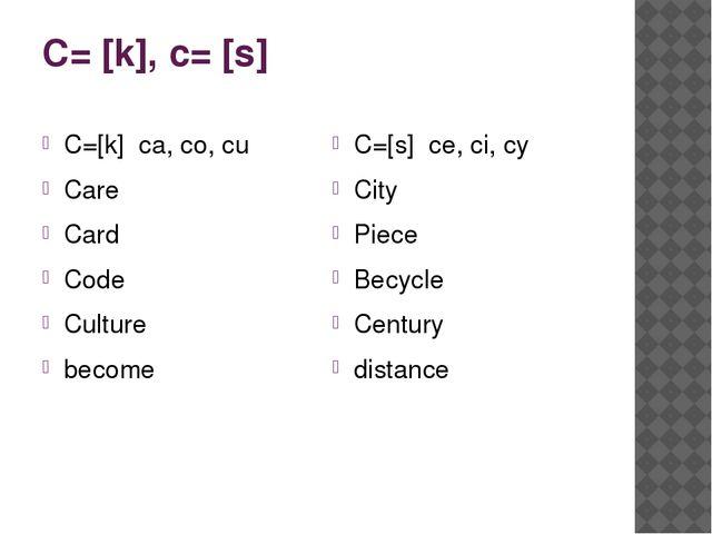C= [k], c= [s] C=[k] ca, co, cu Care Card Code Culture become C=[s] ce, ci, c...